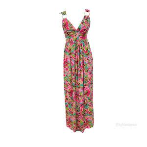 Milly New York Pink Retro Print Maxi DressMEUC